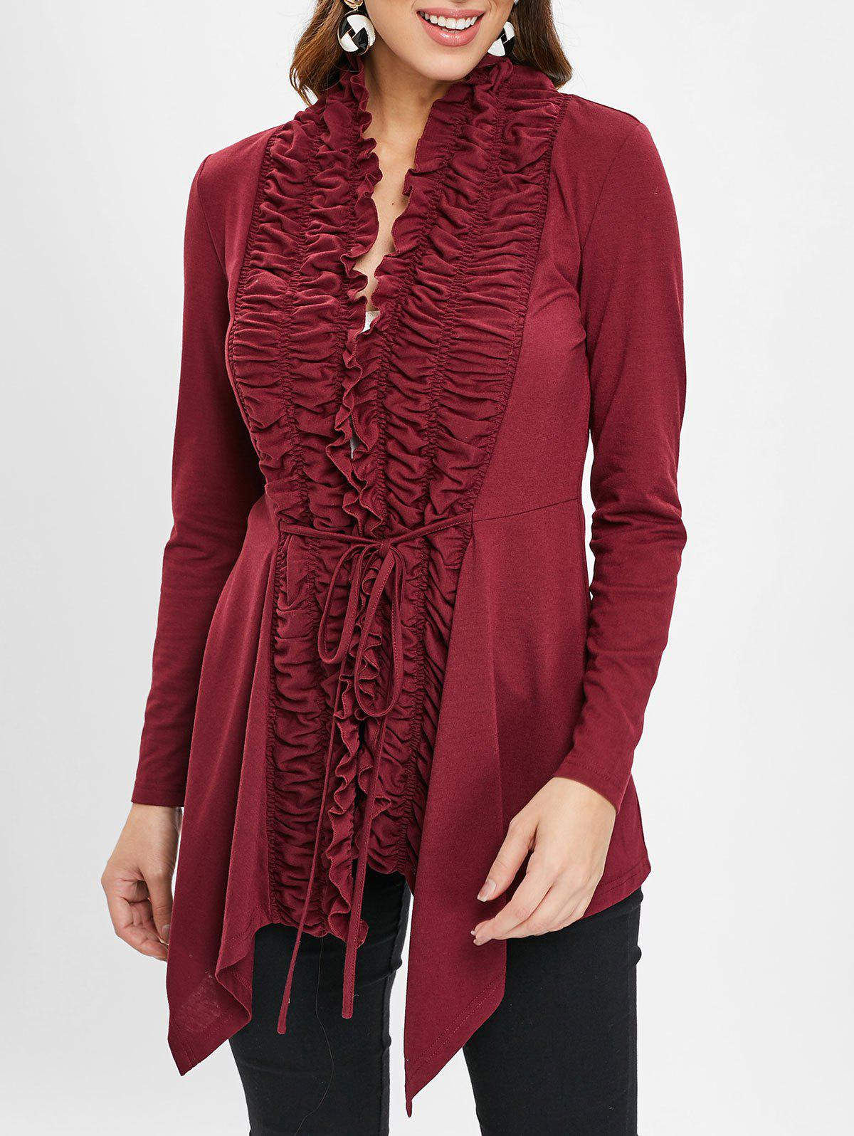 Open Front Ruffles Belted Cardigan - RED WINE M