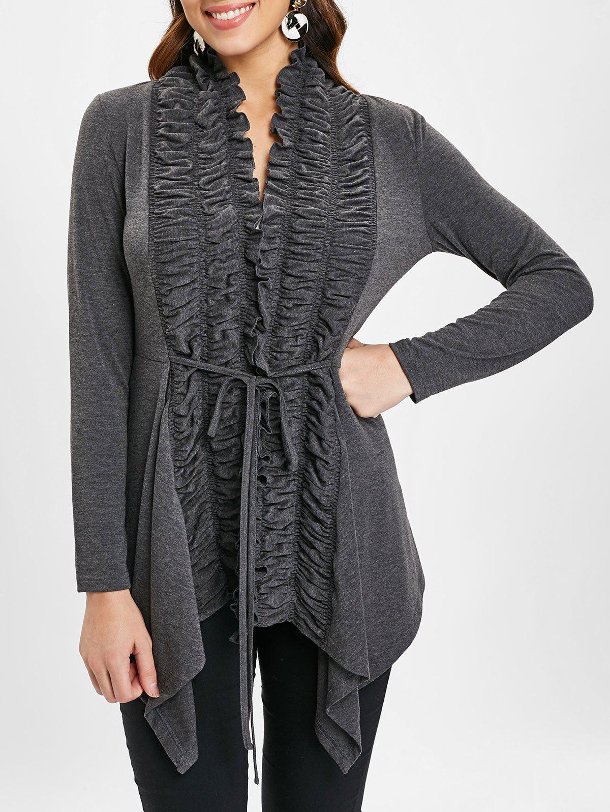 Open Front Ruffles Belted Cardigan - GRAY 2XL