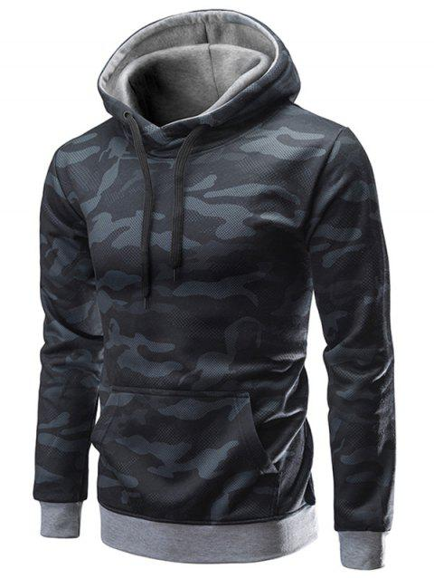 Pouch Pocket Camouflage Hoodie - BLACK 2XL