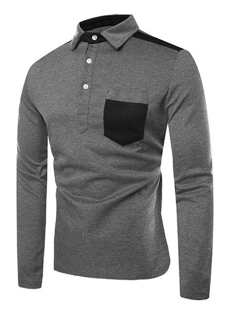 Frontal Pocket Color Block Long Sleeves T Shirt - DARK GRAY L