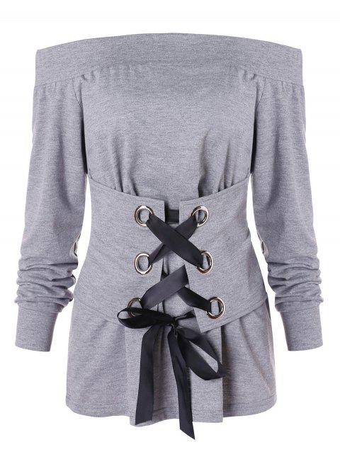 Corset Lace Up Off Shoulder T-shirt - GRAY CLOUD L