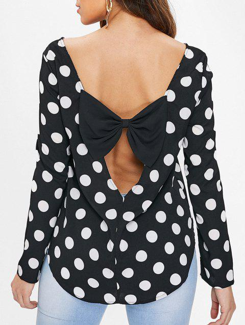 Cut Out Bowknot Dotted Blouse - BLACK M