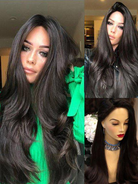2019 Long Side Bang Natural Straight Party Synthetic Wig In Black
