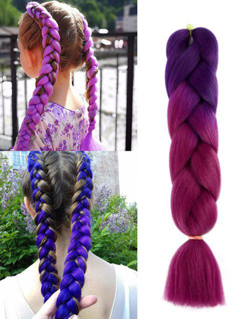 Long Colorful Big Braid Synthetic Hair Extension - multicolor E