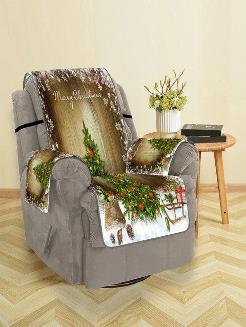 Merry Christmas Tree Gift Pattern Couch Cover - OAK BROWN SINGLE SEAT