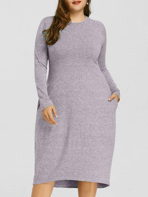 582f5e938e5 LIMITED OFFER  2019 Space Dye Plus Size High Low Dress In PURPLE 3X ...
