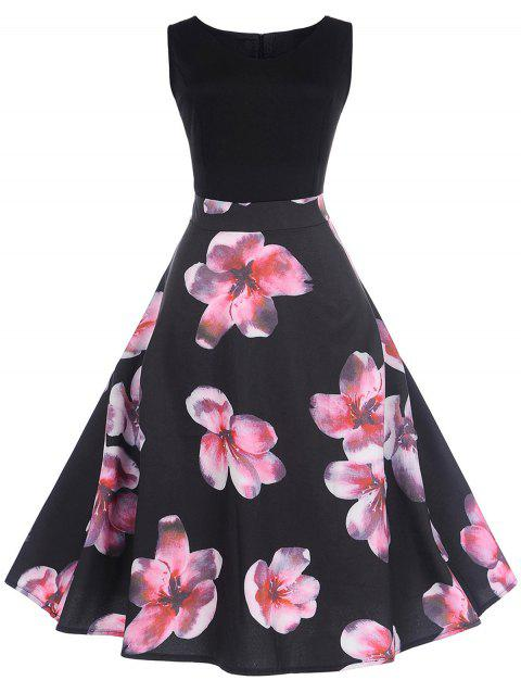Retro Floral Printed Pin Up Dress - BLACK 2XL