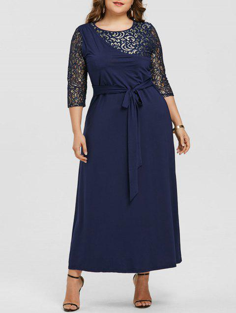 Lace Panel Plus Size Contrast Maxi Dress - DEEP BLUE 5X