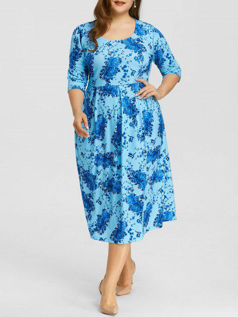 Plus Size Floral Print A Line Midi Dress - BLUE 3X