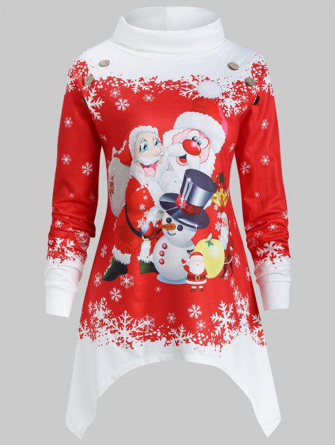 Plus Size Turtleneck Christmas Print Sweatshirt - RED 2X