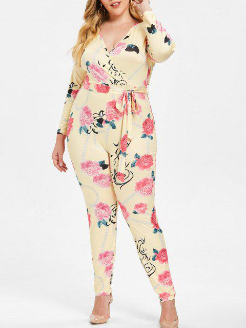 Plus Size Floral Surplice Jumpsuit with Belt - GOLDENROD 3X