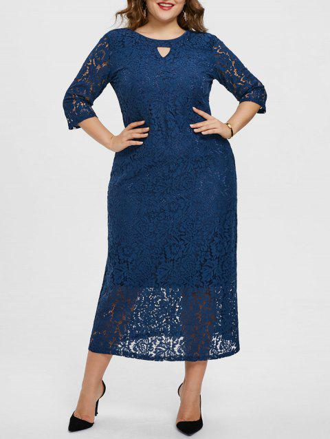 Floral Lace Keyhole Plus Size Maxi Dress - BLUE 3X