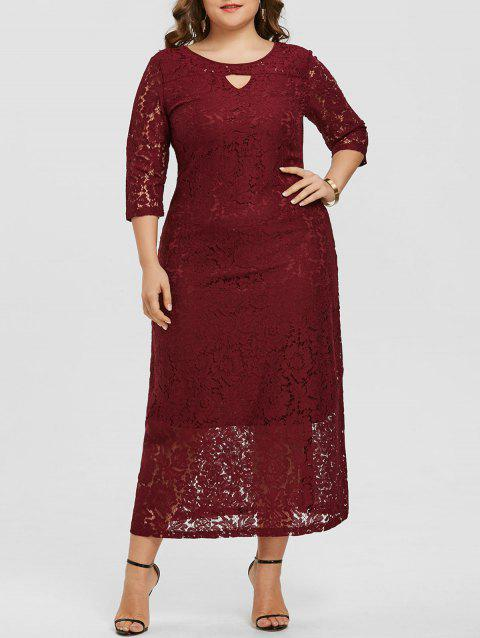 Floral Lace Keyhole Plus Size Maxi Dress - RED WINE 4X