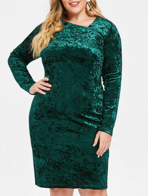 Plus Size Skew Neck Velvet Knee Length Dress - GREEN 2X