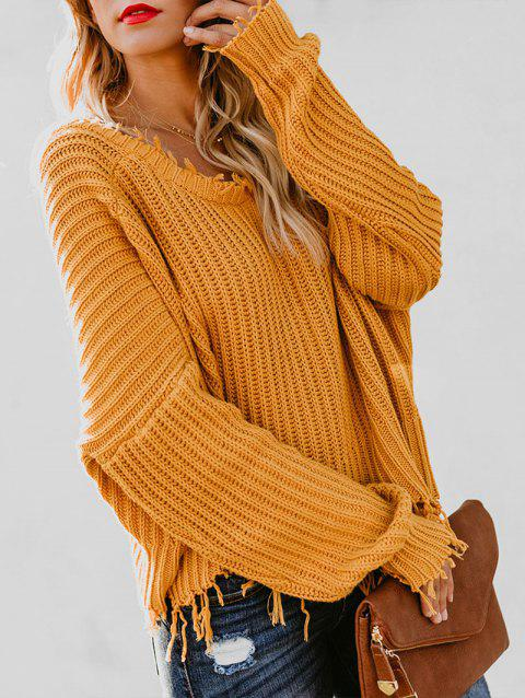 Batwing Sleeve Frayed Trim Sweater - YELLOW M