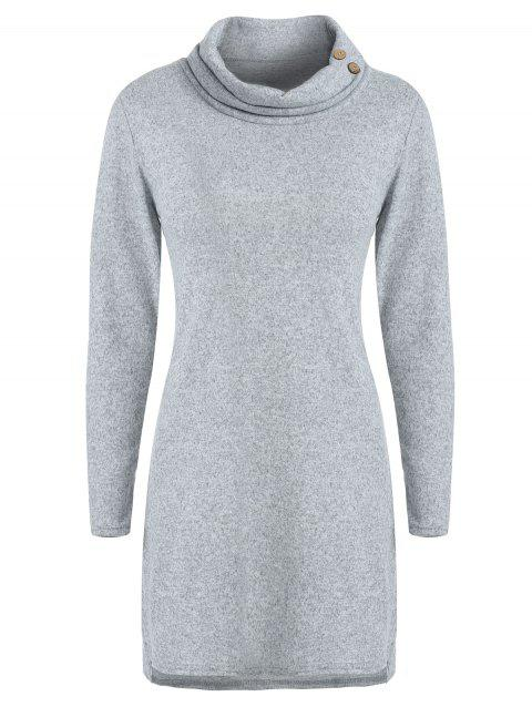 007fd86ed99 64% OFF] 2019 Buttoned Cowl Neck Tunic Sweater Dress In LIGHT GRAY ...