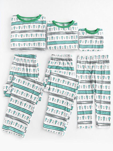 Tree Pattern Matching Family Christmas Pajama - GREEN ONION 10T