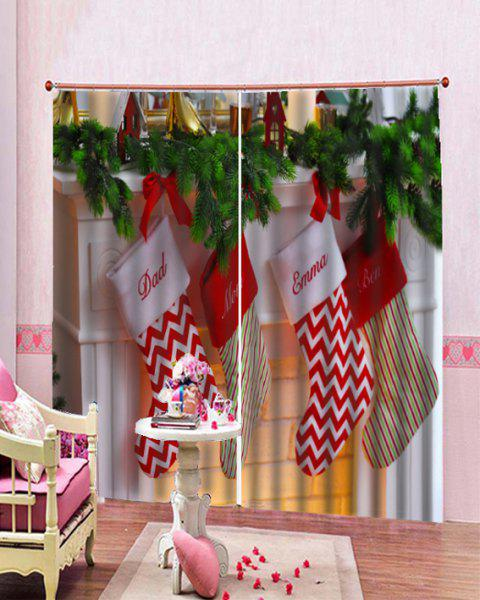 2pcs Letter Printed Christmas Socks Window Curtains Multicolor W33 5 X L79 Inch