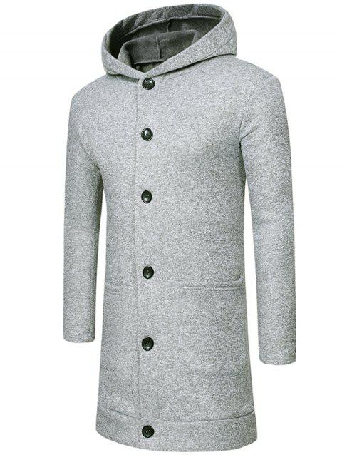 Single Breasted Solid Color Hooded Coat - LIGHT GRAY 2XL