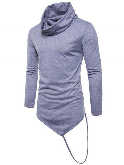 Solid Irregular Hem With A Stripe Cowl Neck T-shirt - LIGHT GRAY M