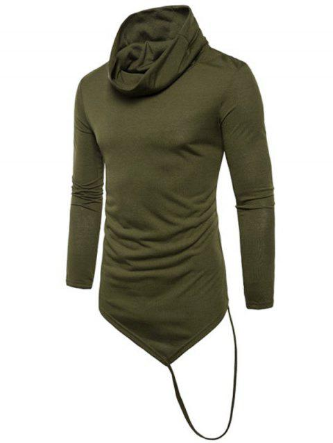 Solid Irregular Hem With A Stripe Cowl Neck T-shirt - ARMY GREEN M
