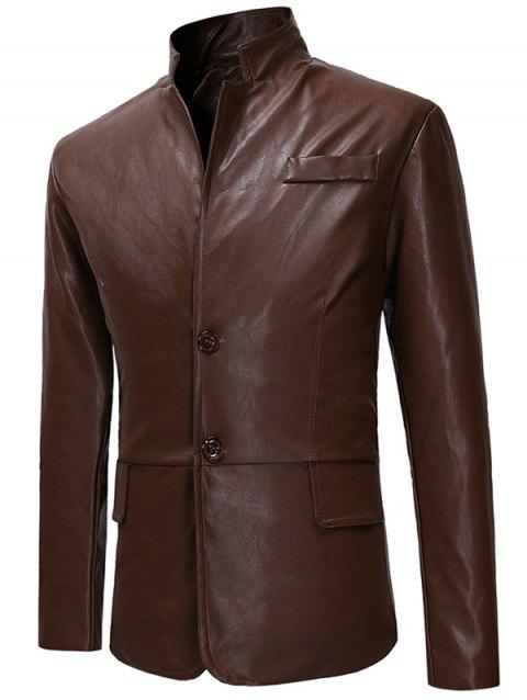 Two Buttons Stand Collar PU Leather Jacket - COFFEE S