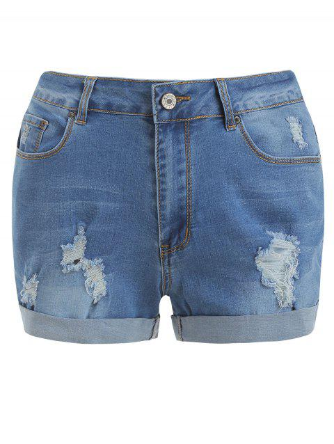 Cuff Zip Fly Ripped Shorts - Bleu Léger L