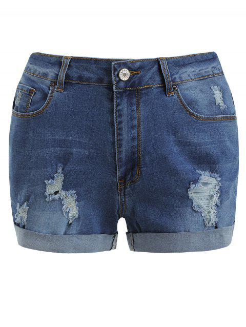 Cuff Zip Fly Ripped Shorts - BLUE M