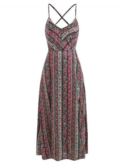 Paisley Print Slit Dress - multicolor XL