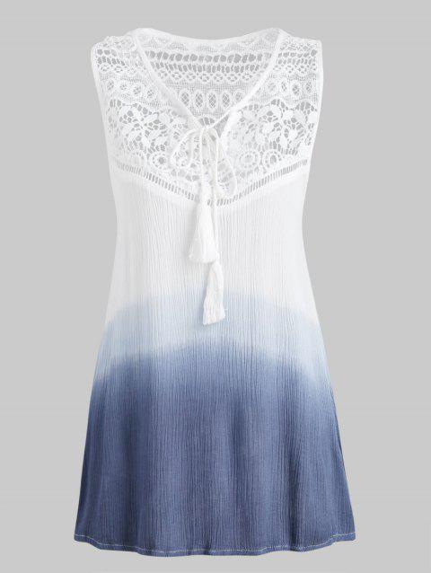 Lace Insert Ombre Tank Top - WHITE M