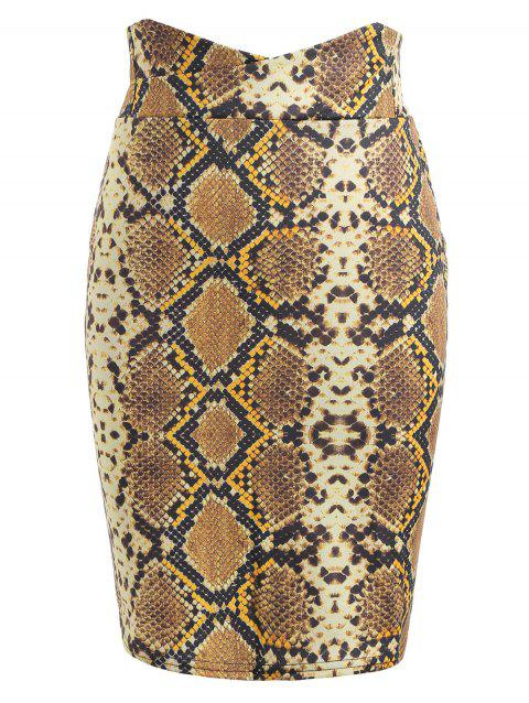 Back Zip Snake Pattern Bodycon Skirt - BRIGHT YELLOW XL