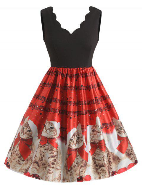 Christmas Cat Print Plus Size Sleeveless Dress - RED L