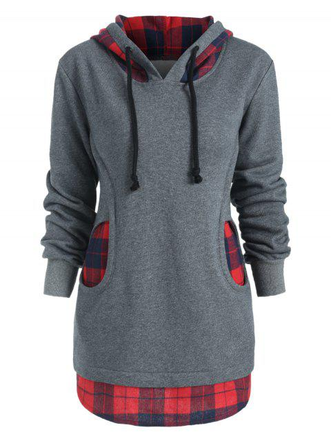 Two Pockets Checkered Terry Hoodie - DARK GRAY L