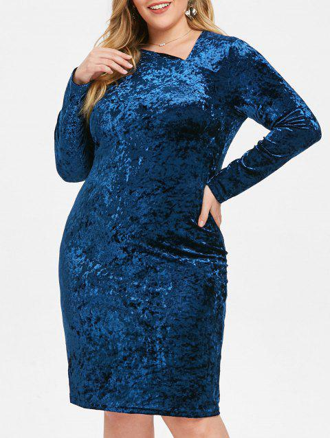 Plus Size Skew Neck Velvet Knee Length Dress - BLUE 5X