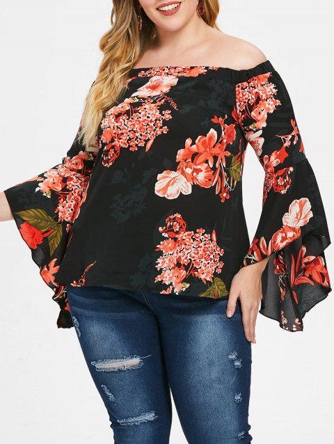 Plus Size Off The Shoulder Flare Sleeve Blouse - BLACK 2X