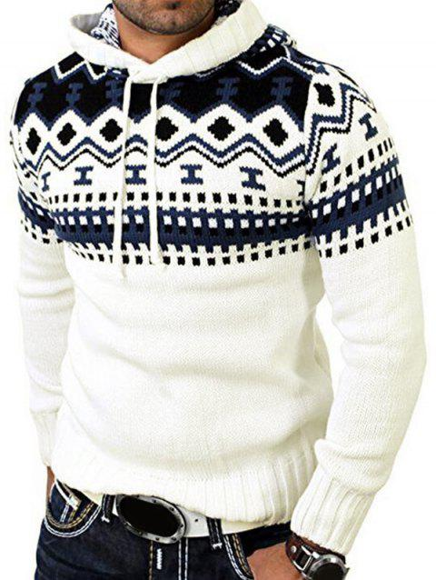 Jacquard Pattern Hooded Pullover Sweater - WHITE XS