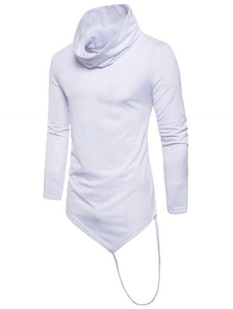 Solid Irregular Hem With A Stripe Cowl Neck T-shirt - WHITE XS