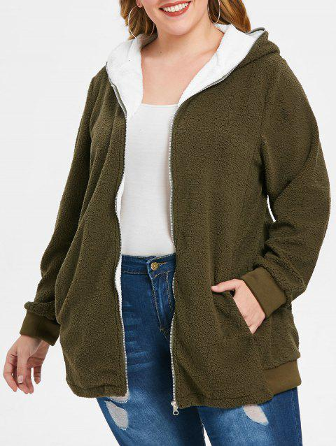 ab2a5c0ab5bc1 2019 Plus Size Hooded Zip Up Faux Fur Coat In ARMY GREEN 5X ...