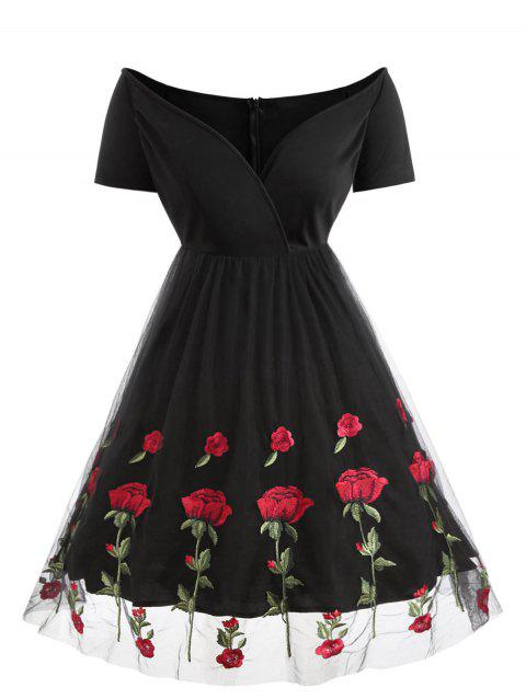 Plus Size Vintage Off Shoulder Floral Embroidered Surplice Dress - BLACK 1X