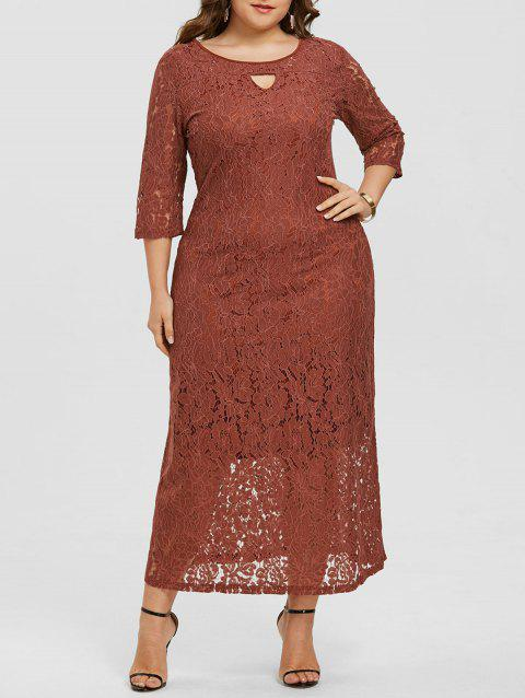 Floral Lace Keyhole Plus Size Maxi Dress - BROWN 4X