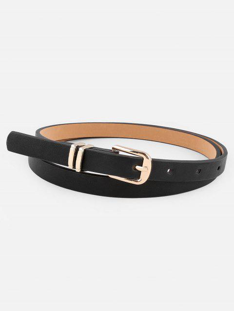 Metal Buckle Artificial Leather Pant Belt - BLACK