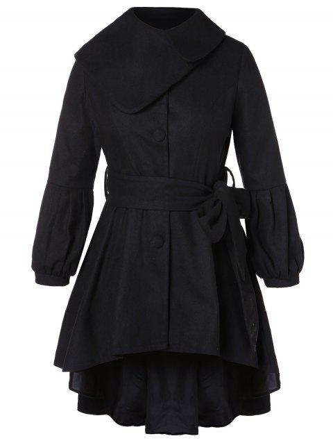 Plus Size Belted High Low Coat - BLACK 1X