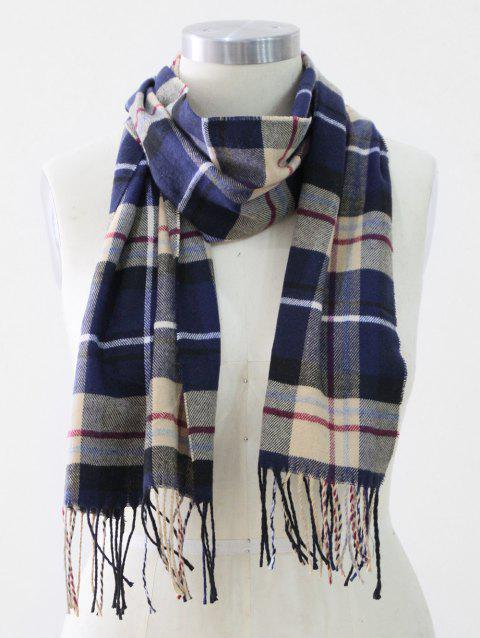 Tassel Edge Checked Pattern Thick Scarf - BLUE
