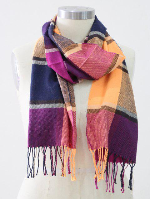 Tassel Edge Checked Pattern Thick Scarf - PURPLE