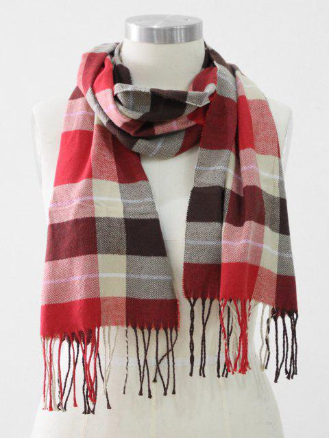 Tassel Edge Checked Pattern Thick Scarf - RED