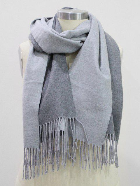 Fringed Cashmere Dual Use Long Shawl Scarf - GRAY