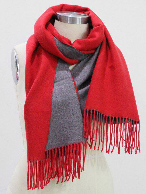 Fringed Cashmere Dual Use Long Shawl Scarf - RED