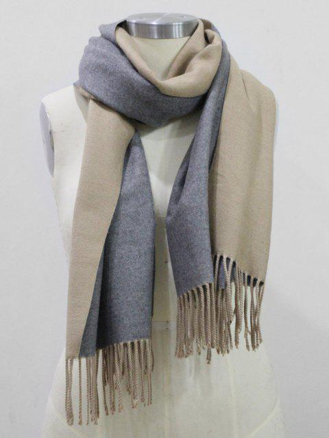 Fringed Cashmere Dual Use Long Shawl Scarf - CAMEL BROWN