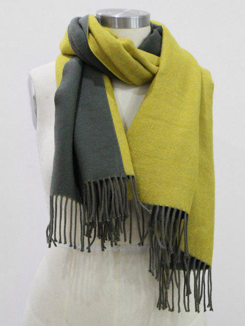 Fringed Cashmere Dual Use Long Shawl Scarf - YELLOW