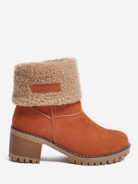 Plus Size Contrast Faux Fur Fold Over Boots - ORANGE EU 40